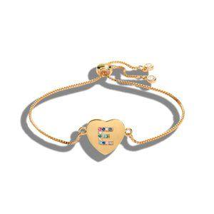 """Gold Heart Letter """"E"""" Initial Name CZ Bracelet"""